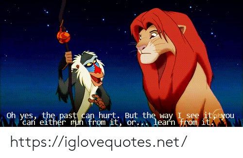 oh yes: Oh yes, the past can hurt. But the way I see itayou  can either mun from it, or..learn from it https://iglovequotes.net/