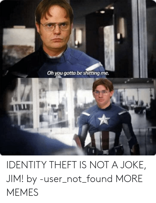 identity theft: Oh you gotta be shitting me. IDENTITY THEFT IS NOT A JOKE, JIM! by -user_not_found MORE MEMES