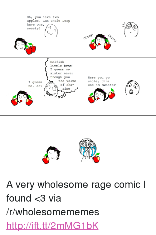 """Rage Comic: Oh, you have two  apples. Can uncle Der  have one,  sweety?  Selfisłh  little brat!  I guess my  sister never  though you  the value  of sha-  ring  Here you go  uncle, this  one is sweeter  I guess  no, eh? <p>A very wholesome rage comic I found &lt;3 via /r/wholesomememes <a href=""""http://ift.tt/2mMG1bK"""">http://ift.tt/2mMG1bK</a></p>"""