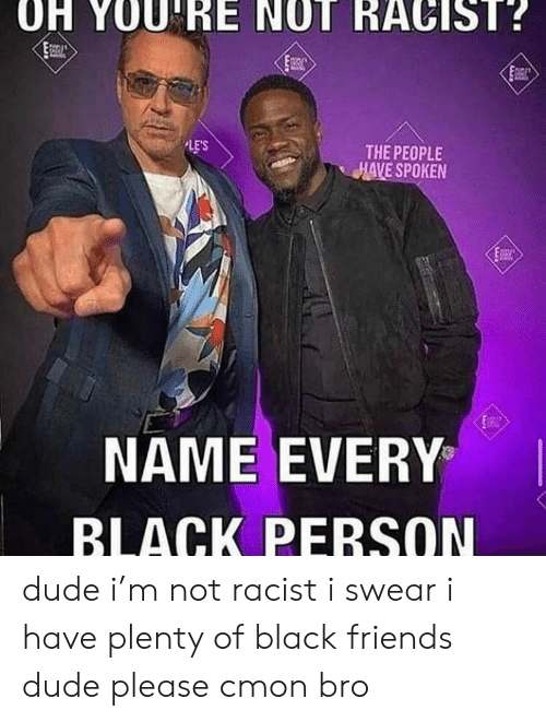 Black Friends: OH YOU RE NOT RACIST?  LE'S  THE PEOPLE  HAVE SPOKEN  NAME EVERY  BLACK PERSON dude i'm not racist i swear i have plenty of black friends dude please cmon bro