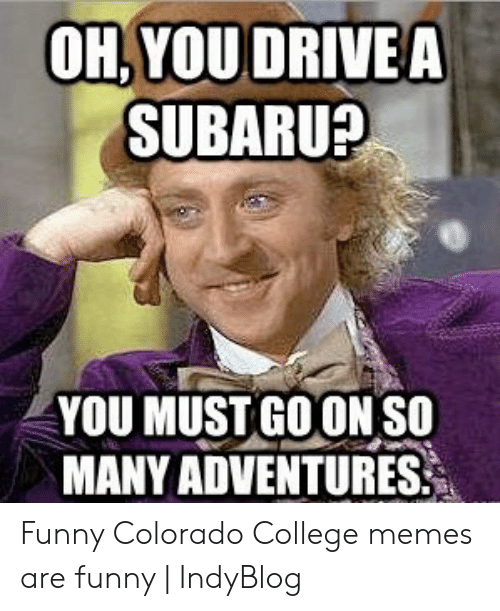 College, Funny, and Memes: OH, YOUDRIVEA  SUBARU?  YOU MUST GO ON SO  MANY ADVENTURES Funny Colorado College memes are funny | IndyBlog