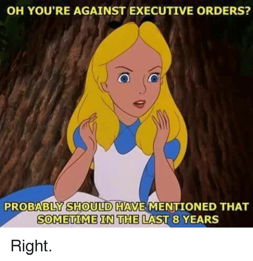 executive orders: OH YOU'RE AGAINST EXECUTIVE ORDERS?  PROBABLY SHOULD HAVE MENTIONED THAT  SOMETIME IN THE LAST 8 YEARS Right.