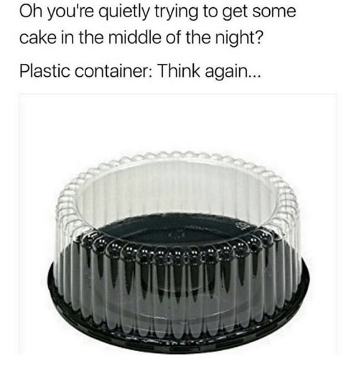 Memes, Cake, and The Middle: Oh you're quietly trying to get some  cake in the middle of the night?  Plastic container: Think again..