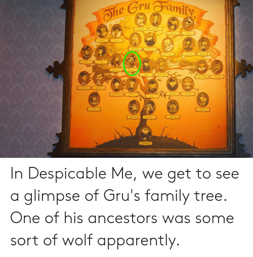 andie: Ohe Gruamity  L  har  arak  Mathil  Bgal  Cmer  illian  ianda  arcel  Abel  andie  Are PoerCherles  ane iem  weti  Udene Henry  Meen  edirey  Pelenine In Despicable Me, we get to see a glimpse of Gru's family tree. One of his ancestors was some sort of wolf apparently.