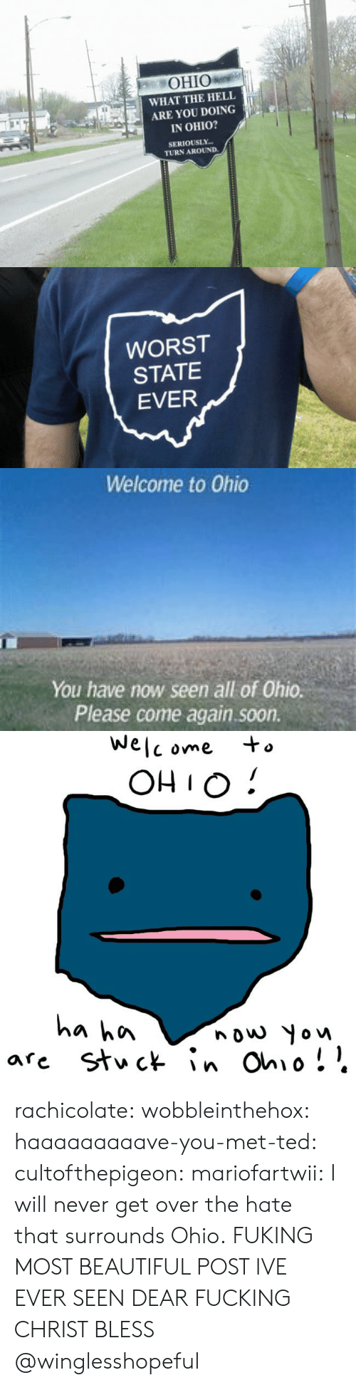 ome: OHIO  WHAT THE HELL  ARE YOU DOING  IN OHIO?  SERIOUSLY  TURN AROUND.   WORST  STATE  EVER   Welcome to Ohio  You have now seen all of Ohio.  Please come again.soon.   We  C ome  OHIO!  a hn  nouw Yow rachicolate: wobbleinthehox:  haaaaaaaaave-you-met-ted:  cultofthepigeon:  mariofartwii:  I will never get over the hate that surrounds Ohio.  FUKING MOST BEAUTIFUL POST IVE EVER SEEN DEAR FUCKING CHRIST BLESS      @winglesshopeful