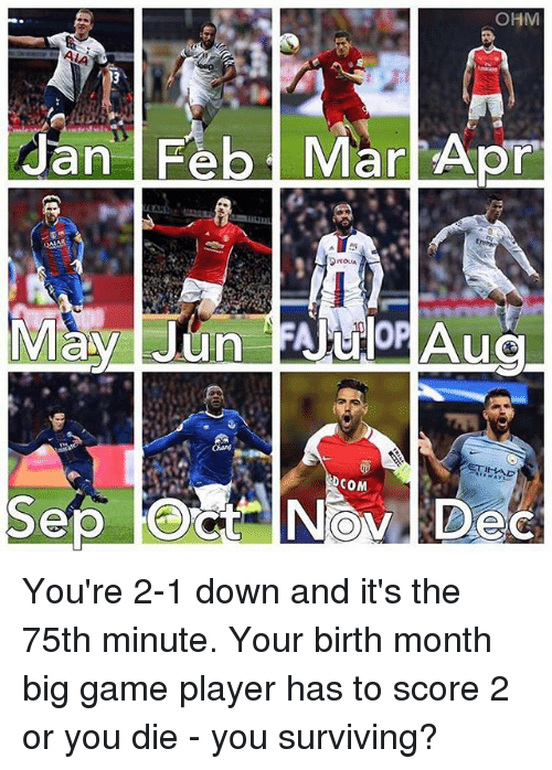 ohm: OHM  Jan Feb. Mar Apr  Aug  ETH-RAD  DCOM You're 2-1 down and it's the 75th minute. Your birth month big game player has to score 2 or you die - you surviving?