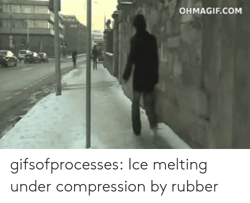 Ohmagif: OHMAGIF.COM gifsofprocesses:  Ice melting under compression by rubber