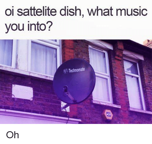 Dank, Music, and Dish: oi sattelite dish, what music  you into?  Technomate Oh