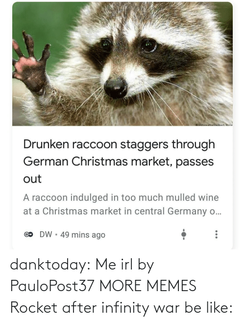 Wine: oictureNnwidoa/ Klime  Drunken raccoon staggers through  German Christmas market, passes  out  A raccoon indulged in too much mulled wine  at a Christmas market in central Germany o...  DW • 49 mins ago  Ow danktoday:  Me irl by PauloPost37 MORE MEMES  Rocket after infinity war be like: