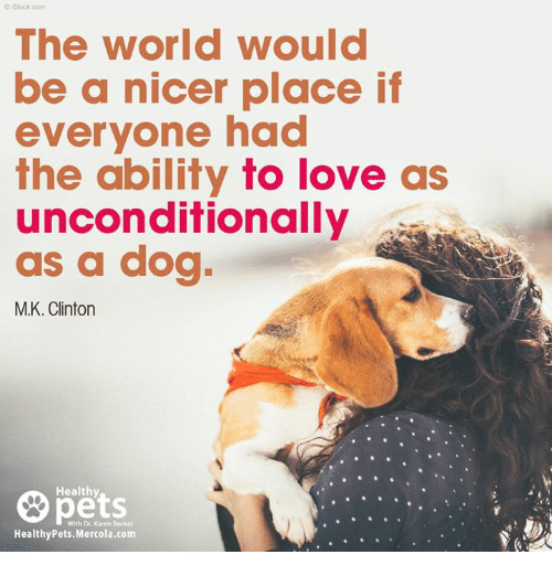 Love, Memes, and Pets: OIStock com  The world would  be a nicer place if  everyone had  the ability fo love as  unconditionally  as a dog  M.K. Clintorn  pets  Healthy  With Dr. Karen Becker  HealthyPets.Mercola.com
