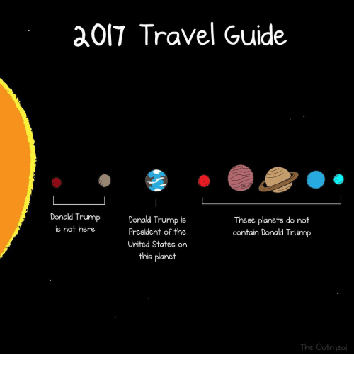 trump donald: OIT Travel Guide  Donald Trump  Donald Trump is  These planets do not  is not here  president of the  contain Donald Trump  United States on  this planet  The Oatmeal