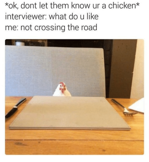 Memes, Chicken, and The Road: *ok, dont let them know ur a chicken*  interviewer: what do u like  me: not crossing the road