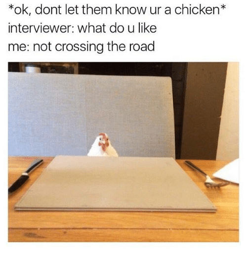 Dank, Chicken, and The Road: ok, dont let them know ur a chicken  interviewer: what do u like  me: not crossing the road