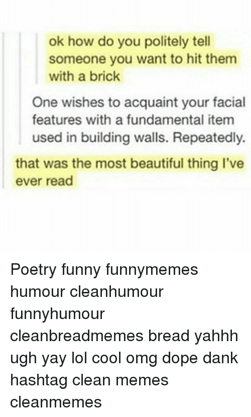 Beautiful, Dank, and Dope: ok how do you politely tell  someone you want to hit them  with a brick  One wishes to acquaint your facial  features with a fundamental item  used in building walls. Repeatedly.  that was the most beautiful thing I've  ever read Poetry funny funnymemes humour cleanhumour funnyhumour cleanbreadmemes bread yahhh ugh yay lol cool omg dope dank hashtag clean memes cleanmemes