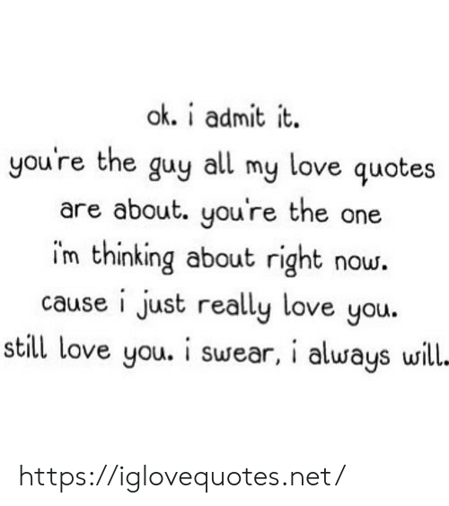 my love: ok. i admit it  you're the guy all my love quotes  are about. you're the one  im thinking about right now.  cause i just really love you.  still love you. i swear, i always will- https://iglovequotes.net/
