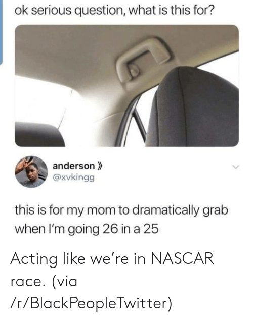 nascar: ok serious question, what is this for?  anderson  @xvkingg  this is for my mom to dramatically grab  when I'm going 26 in a 25 Acting like we're in NASCAR race. (via /r/BlackPeopleTwitter)
