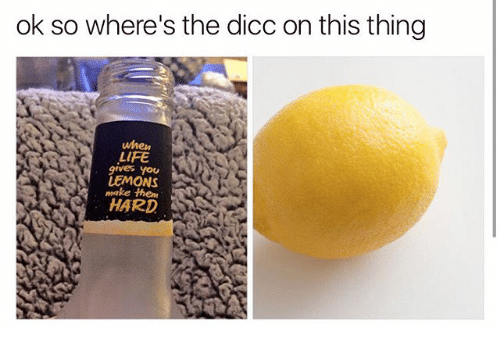 Life, Memes, and 🤖: ok so where's the dicc on this thing  when  LIFE  gives you  LEMONS  make them