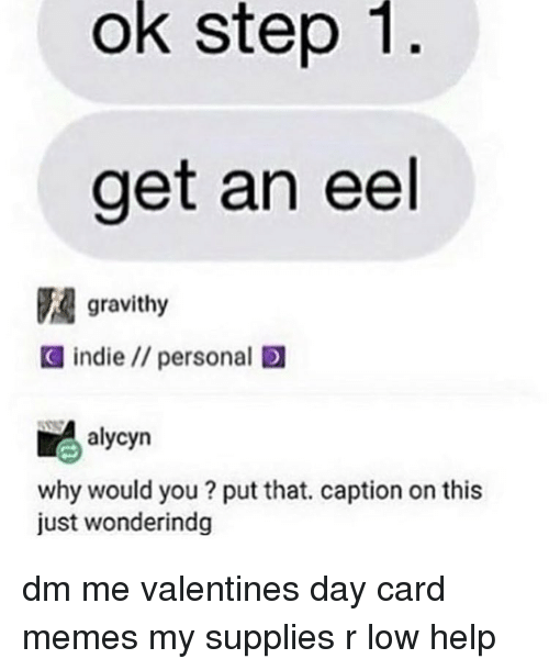 Memes, 🤖, and Eels: ok step 1  get an eel  gravithy  C indie personal ID  alycyn  why would you put that. caption on this  just wonderindg dm me valentines day card memes my supplies r low help