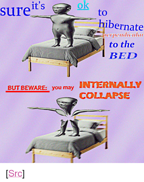 """Reddit, Com, and Src: ok  surets  to  ibernate  ID  to the  BED  perpendiculdli  INTERNALLY  BUT BEWARE youCOLLAPSE <p>[<a href=""""https://www.reddit.com/r/surrealmemes/comments/7cr34d/happens_entirely_too_often/"""">Src</a>]</p>"""