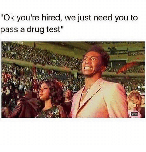 "drugged: ""Ok you're hired, we just need you to  pass a drug test"""