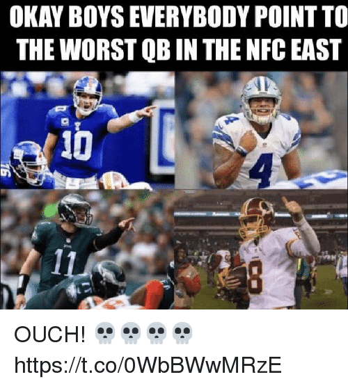 nfc east: OKAY BOYS EVERYBODY POINT TO  THE WORST QB IN THE NFC EAST OUCH! 💀💀💀💀 https://t.co/0WbBWwMRzE
