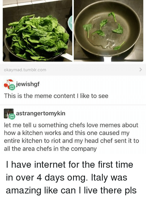 Head, Internet, and Love: okay mad tumblr.com  jewishgf  This is the meme content I like to see  Aastrangertomykin  let me tell u something chefs love memes about  how a kitchen works and this one caused my  entire kitchen to riot and my head chef sent it to  all the area chefs in the company I have internet for the first time in over 4 days omg. Italy was amazing like can I live there pls