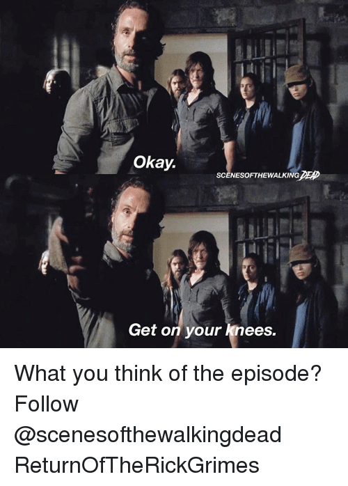 Memes, 🤖, and You Think: Okay.  SCENES OFTHEWALKING  Get on your knees. What you think of the episode? Follow @scenesofthewalkingdead ReturnOfTheRickGrimes