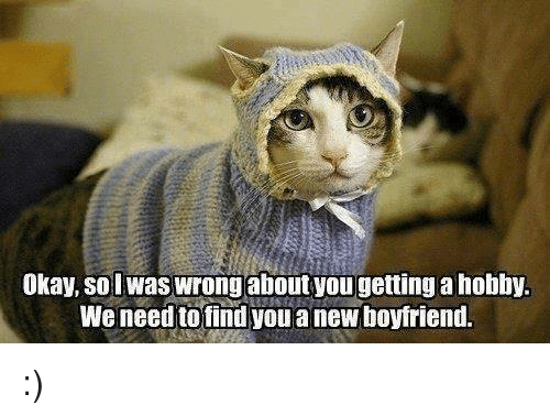 Boyfriend: Okay, so lwas wrongabout you getting a hobby.  We need to find youa new boyfriend. :)