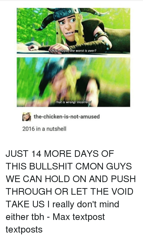 Memes, Tbh, and The Worst: Okay waybe the worst is over?  That is wrongl incorrec  the-chicken-is-not-amused  2016 in a nutshell JUST 14 MORE DAYS OF THIS BULLSHIT CMON GUYS WE CAN HOLD ON AND PUSH THROUGH OR LET THE VOID TAKE US I really don't mind either tbh - Max textpost textposts