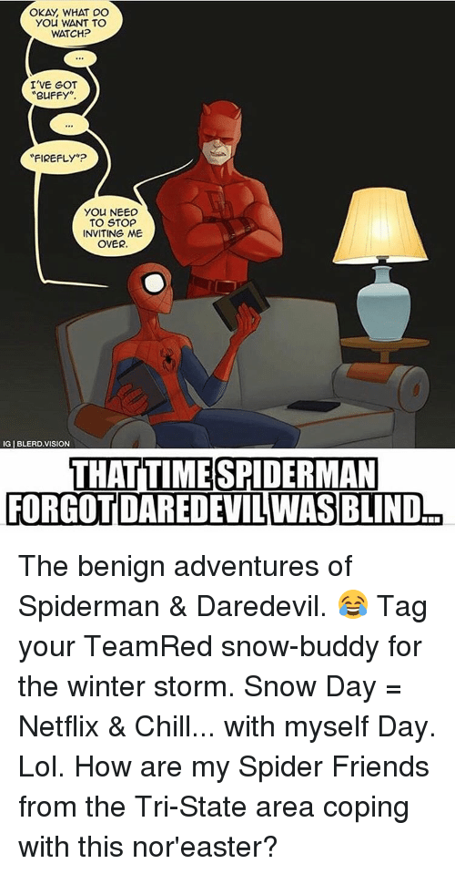 """winter storm: OKAY WHAT DO  YOU WANT TO  WATCH?  I'VE GOT  BUFFY  FIREFLY""""?  You NEED  TO STOP  INVITING ME  OVER.  IGIBLERDVISION  THAT TIME SPIDERMAN  FORGOT DAREDEVILWAS BLIND The benign adventures of Spiderman & Daredevil. 😂 Tag your TeamRed snow-buddy for the winter storm. Snow Day = Netflix & Chill... with myself Day. Lol. How are my Spider Friends from the Tri-State area coping with this nor'easter?"""