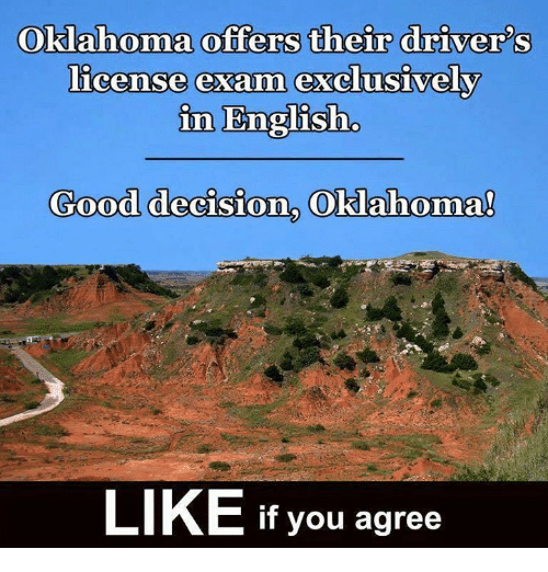 Memes, Good, and Oklahoma: Oklahoma offers their driver's  license exam  exclusively  in English.  Good decision. Oklahoma!  LIKE If you agree
