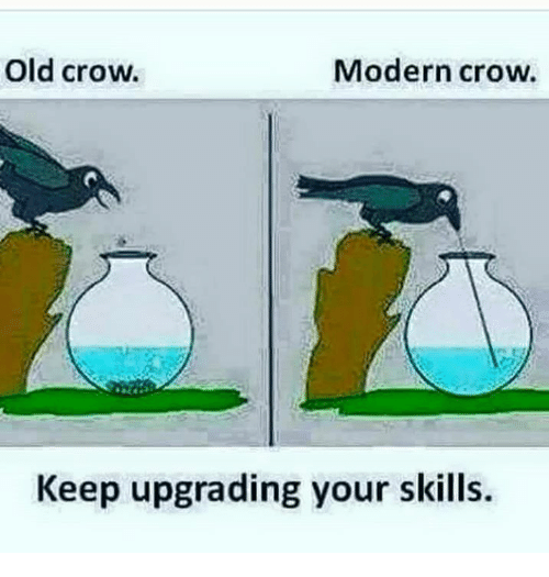 Memes, 🤖, and Crow: Old Crow.  Modern crow.  Keep upgrading your skills.