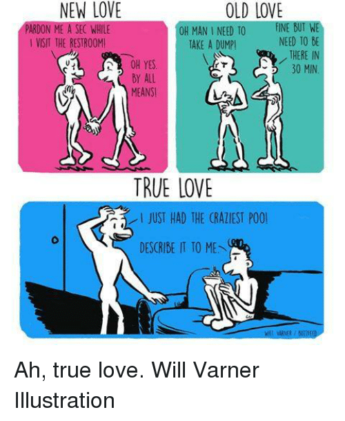 botw: OLD LOVE  BOTWE  ON  OH MAN I NEED TO  FINE NEED TO DE  VISIT THE RESTROOMI  TAKE A DUMP!  THERE IN  OH YES  30 MIN  All  MEANSI  TRUE LOVE  JUST HAD THE (RATIEST POOl  DESCRIBE IT TO ME Ah, true love.  Will Varner Illustration