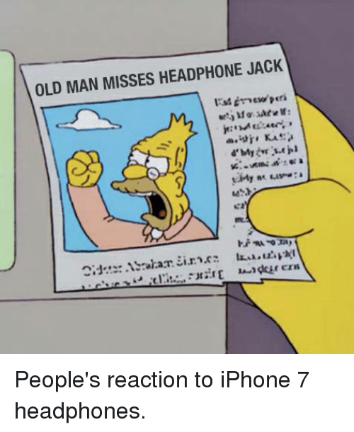 Funny, Iphone, and Old Man: OLD MAN MISSES HEADPHONE JACK People's reaction to iPhone 7 headphones.