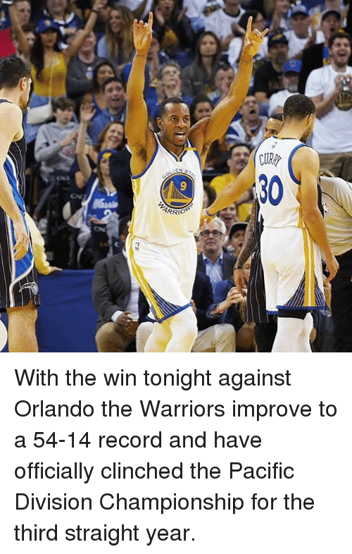 Basketball, Golden State Warriors, and Sports: Olde by With the win tonight against Orlando the Warriors improve to a 54-14 record and have officially clinched the Pacific Division Championship for the third straight year.