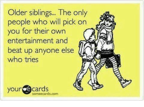 Older Siblings: Older siblings.. The only  people who will pick on  you for their own  entertainment and  beat up anyone else  who tries  your e cards  someecards,com