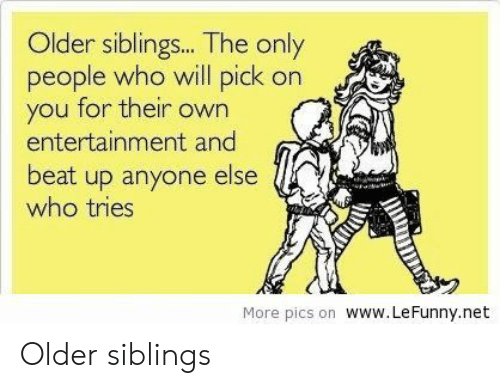 Older Siblings: Older siblings... The only  people who will pick on  you for their own  entertainment and  beat up anyone else  who tries  CA  More pics on www.LeFunny.net Older siblings
