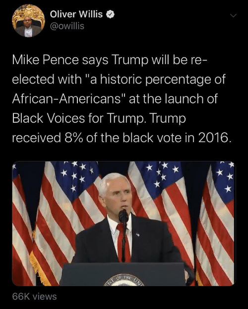 "african: Oliver Willis  @owillis  Mike Pence says Trump will be re-  elected with ""a historic percentage of  African-Americans"" at the launch of  Black Voices for Trump. Trump  received 8% of the black vote in 2016.  UN  OF THE  NT  66K views"