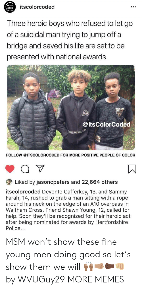 On The Edge: OLOR  ODED  itscolorcoded  Three heroic boys who refused to let go  of a suicidal man trying to jump off a  bridge and saved his life are set to be  presented with national awards.  @ltsColorCoded  FOLLOW @ITSCOLORCODED FOR MORE POSITIVE PEOPLE OF COLOR  Liked by jasoncpeters and 22,664 others  itscolorcoded Devonte Cafferkey, 13, and Sammy  Farah, 14, rushed to grab a man sitting with a rope  around his neck on the edge of an A10 overpass in  Waltham Cross. Friend Shawn Young, 12, called for  help. Soon they'll be recognized for their heroic act  after being nominated for awards by Hertfordshire  Police. MSM won't show these fine young men doing good so let's show them we will 🙌🏾🤜🏽🤛🏿👊🏼 by WVUGuy29 MORE MEMES