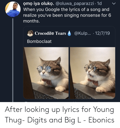 thug: omọ iya oluko. @oluwa_paparazzi · 1d  When you Google the lyrics of a song and  realize you've been singing nonsense for 6  months.  @Kulp... · 12/7/19  Crocodile Tears  Bomboclaat After looking up lyrics for Young Thug- Digits and Big L - Ebonics
