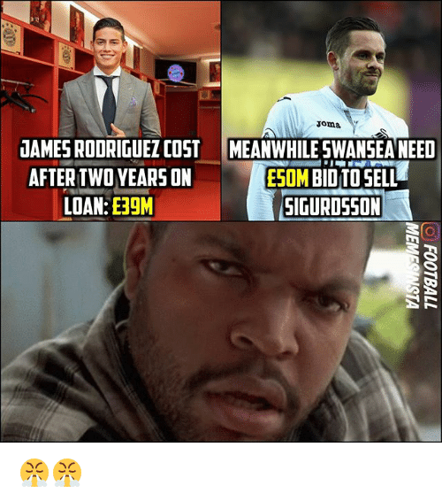 Memes, 🤖, and Rodriguez: oma  UAMES RODRIGUEZ COST  AFTER TWO YEARS ON  LOAN:ERGM  MEANWHILE SWANSEA NEED  EOM BIUTO SELL  SIGURDSSON 😤😤