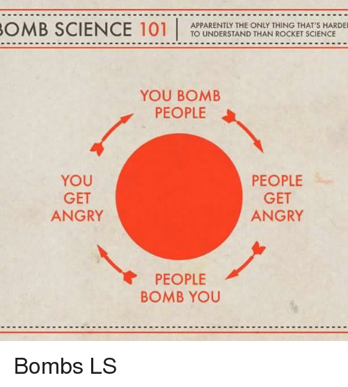 Apparently, Memes, and Angry: OMB SCIENCE 101  APPARENTLY THE ONLY THING THAT'S HARDER  TO UNDERSTAND THAN ROCKET SCIENCE  YOU BOMB  PEOPLE  PEOPLE  YOU  GET  GET  ANGRY  ANGRY  PEOPLE  BOMB YOU Bombs LS