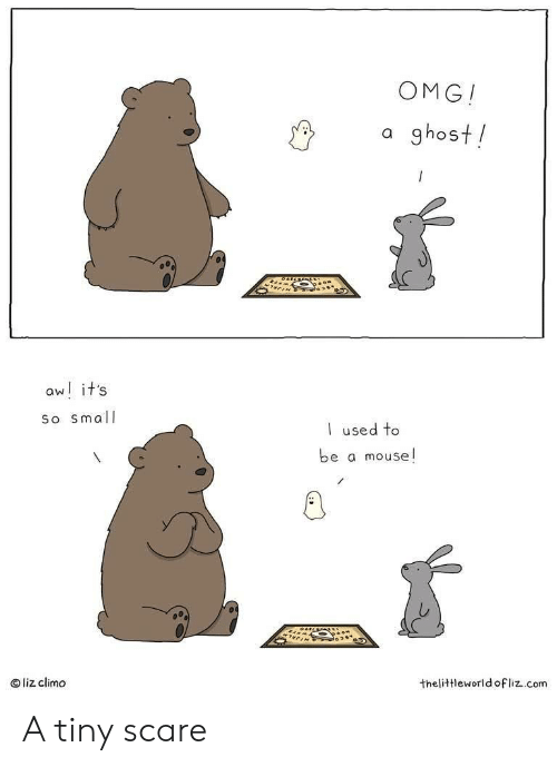 Scare: OMG!  a ghost!  aw! it's  So small  used to  be a mouse!  liz climo  thelittleworld ofliz.com A tiny scare