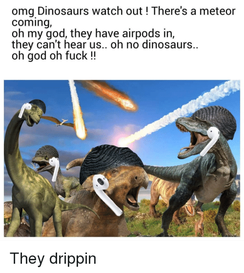 meteor: omg Dinosaurs watch out ! There's a meteor  coming,  oh my god, they have airpods in,  they can't hear us.. oh no dinosaurs.  oh god oh fuck !! They drippin