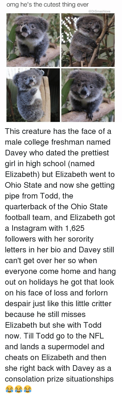 college freshman: omg he's the cutest thing ever  @DrSmashlove This creature has the face of a male college freshman named Davey who dated the prettiest girl in high school (named Elizabeth) but Elizabeth went to Ohio State and now she getting pipe from Todd, the quarterback of the Ohio State football team, and Elizabeth got a Instagram with 1,625 followers with her sorority letters in her bio and Davey still can't get over her so when everyone come home and hang out on holidays he got that look on his face of loss and forlorn despair just like this little critter because he still misses Elizabeth but she with Todd now. Till Todd go to the NFL and lands a supermodel and cheats on Elizabeth and then she right back with Davey as a consolation prize situationships 😂😂😂