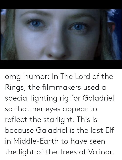 lighting: omg-humor:  In The Lord of the Rings, the filmmakers used a special lighting rig for Galadriel so that her eyes appear to reflect the starlight. This is because Galadriel is the last Elf in Middle-Earth to have seen the light of the Trees of Valinor.
