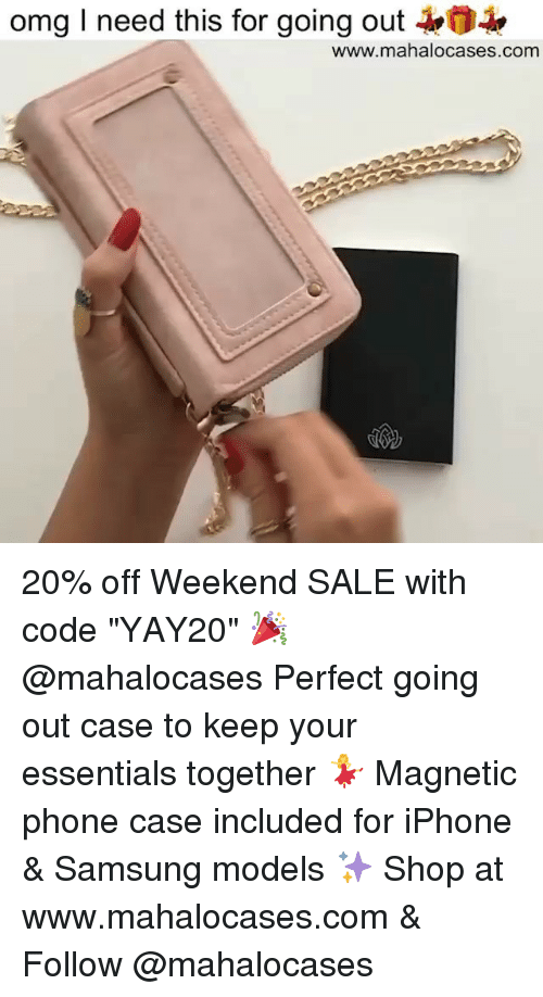 "Iphone, Memes, and Omg: omg I need this for going out  www.mahalocases.com 20% off Weekend SALE with code ""YAY20"" 🎉 @mahalocases Perfect going out case to keep your essentials together 💃 Magnetic phone case included for iPhone & Samsung models ✨ Shop at www.mahalocases.com & Follow @mahalocases"