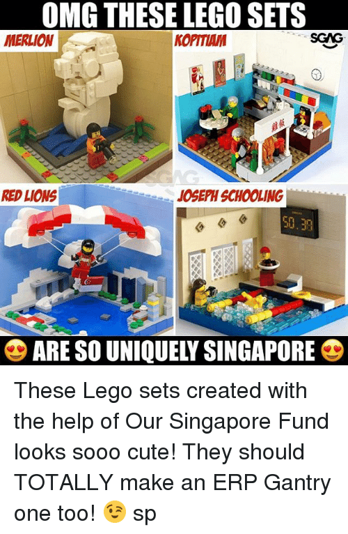 Cute, Lego, and Memes: OMG THESE LEGO SETS  MERLION  KOPITIAM  RED LIONS  10SEPH SCHOOLING  50.39  ARE SO UNIQUELY SINGAPORE These Lego sets created with the help of Our Singapore Fund <link in bio> looks sooo cute! They should TOTALLY make an ERP Gantry one too! 😉 sp