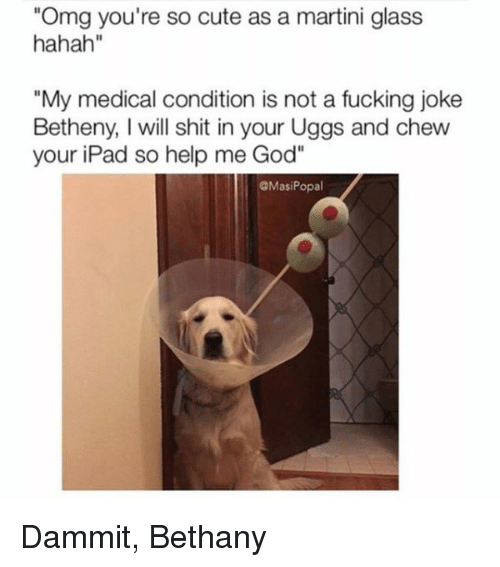 """Help Me God: """"Omg you're so cute as a martini glass  hahah""""  """"My medical condition is not a fucking joke  Betheny, will shit in your Uggs and chew  your iPad so help me God""""  GMasi Popal Dammit, Bethany"""