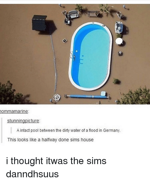 Memes, The Sims, and Dirty: ommamarine  stunningpicture  A intact pool between the dirty water of a flood in Germany.  This looks like a halfway done sims house i thought itwas the sims danndhsuus